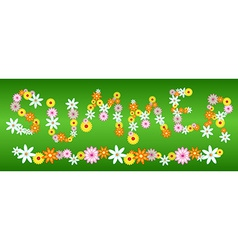 Glossy flower SUMMER letters on green vector image vector image