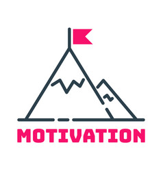motivation concept flag on mountain top icon vector image