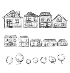 Set of hand drawn houses and trees vector image vector image