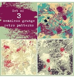 Set of three seamless grunge patterns vector image vector image