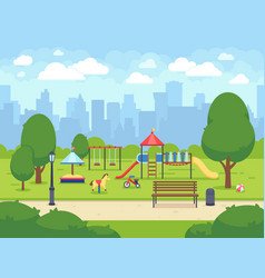 urban summer public garden with kids playground vector image