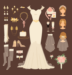 wedding fashion bride dress doodle style bridal vector image