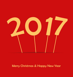 2017 on stick happy new year and merry christmas vector image