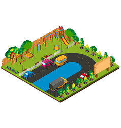 3d design for park with playground vector image