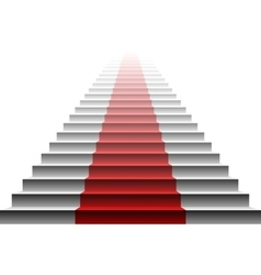 3d image of red carpet on white stair stairs red vector image