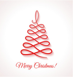 Abstract red Christmas tree on white background vector image