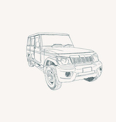 adventure off road car sketch vector image
