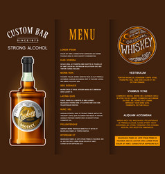 alcohol drink in a bottle banner or brochure with vector image