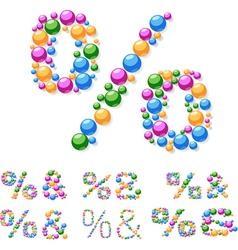 Alphabet symbols colorful bubbles or balls vector