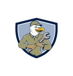 American Bald Eagle Mechanic Spanner Crest Cartoon vector