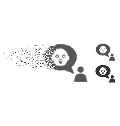 Baby thinking person decomposed pixel halftone vector