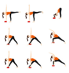 Bend and twist standing yoga asanas set with vector
