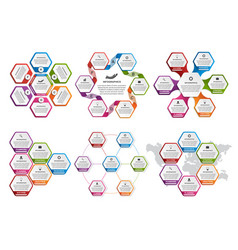 big collection colorful hexagon vector image