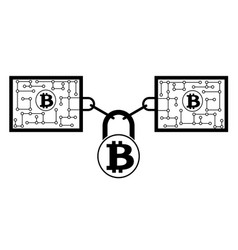 Bitcoin block chain technology icon disign vector