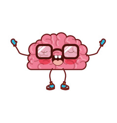 Brain cartoon with glasses and emotional vector