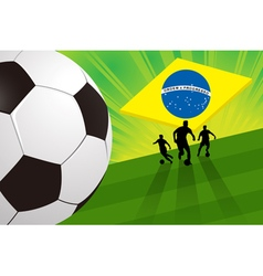 Brazil soccer background - soccer player and ball vector