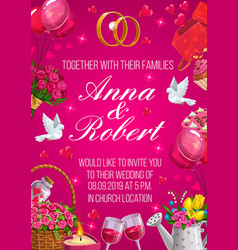 bride and groom names invitation on wedding party vector image