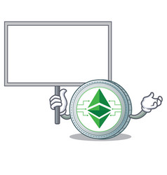 Bring board ethereum classic character cartoon vector