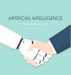 business human and robot handshake vector image