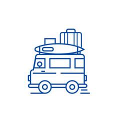 caravantravel camping trailer line icon concept vector image