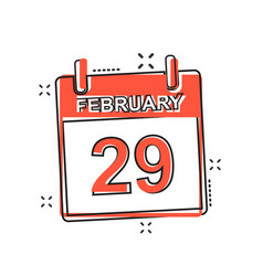 cartoon february 29 calendar icon in comic style vector image