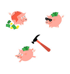 cartoon piggy bank set vector image