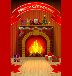 christmas card with red ribbon fireplace in vector image