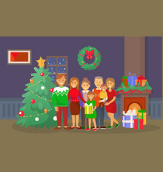 christmas family at home people by pine tree vector image