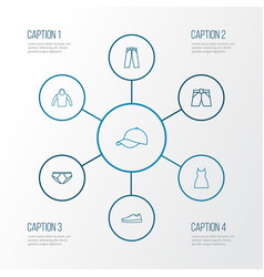 Clothes outline icons set collection of vector