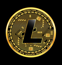 crypto currency litecoin golden symbol vector image