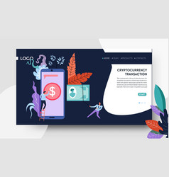 cryptocurrency transaction web page template vector image