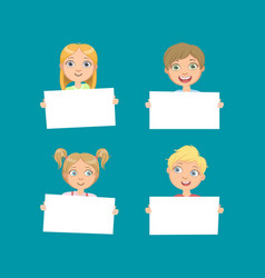 cute children holding empty blank boards set vector image
