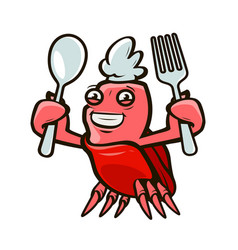 Cute crab holding a fork and a spoon seafood vector