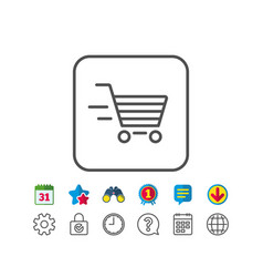 Delivery service line icon shopping cart sign vector