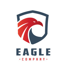 eagle head shield logo design vector image