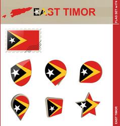 East timor flag set flag set 174 vector