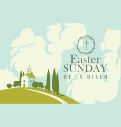 easter card with church on hill sky and clouds vector image