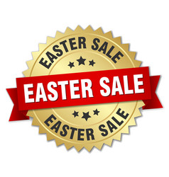easter sale round isolated gold badge vector image