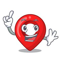 finger map marker navigation pin mascot cartoon vector image