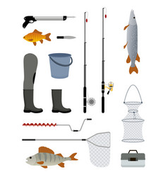 Fishing manufacturers icon set vector