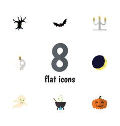 flat icon halloween set of ghost magic cranium vector image