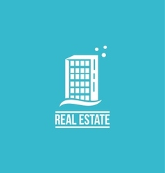 Flat real estate blue building logo vector