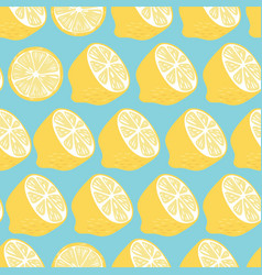 fruit seamless pattern lemon halves and slices vector image