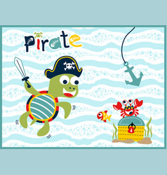 funny pirate cartoon underwater vector image