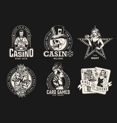 Gambling monochrome designs collection vector