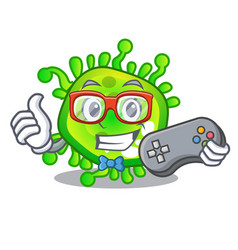 gamer cartoon microbes on the humans hand vector image