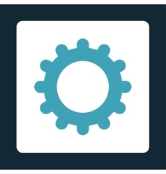 Gear flat blue and white colors rounded button vector