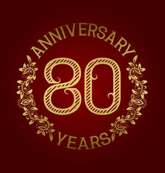 golden emblem of eightieth anniversary vector image