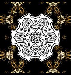 Golden floral ornament brocade textile pattern vector
