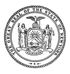 great seal state new york vintage vector image